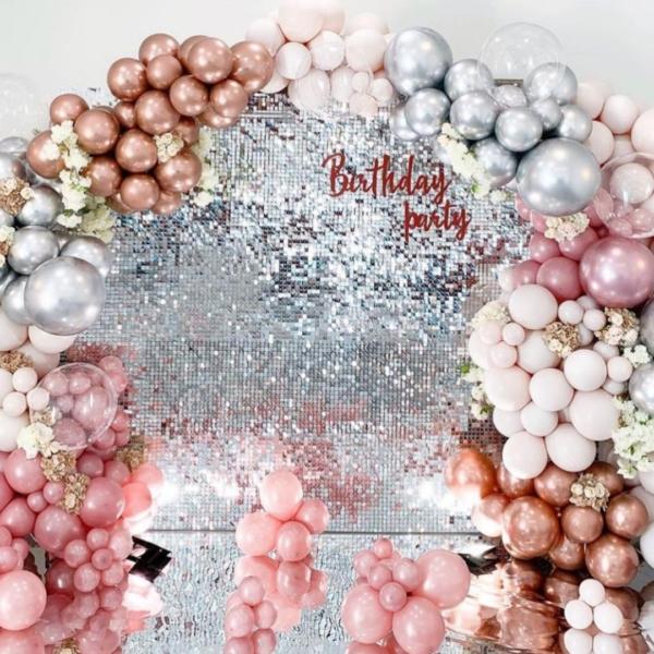 Фотозона из пайеток на день рождения